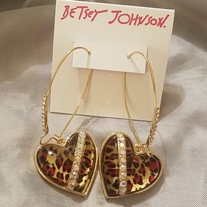 Betsey Johnson heart leapord gem earrings